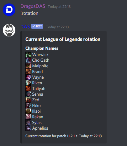 League of Legends !rotation